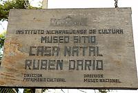 Sign outside Casa Natal Ruben Dario, the house where Nicaraguan poet Ruben Dario was born, Ciudad Dario, Nicaragua
