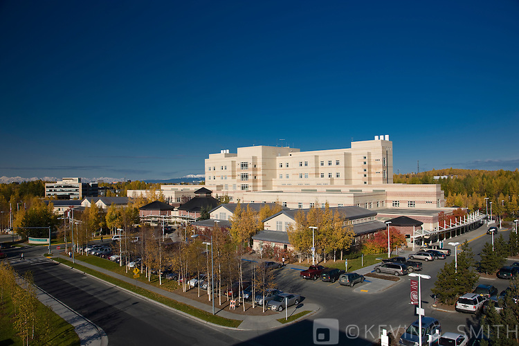 Photo of the Anchorage Native Medical center, fall, Anchorage, Southcentral Alaska, USA.