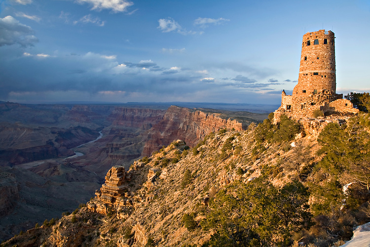 Overlooking the Colorado River at the eastern most part of the park, the Desert View Watchtower was constructed in 1932 as a replica Indian Tower.