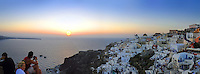 Panoramic picture of the Santorini sunset in Oia village