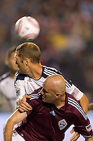 Colorado Rapids forward Conor Casey and Gregg Berhalter defender of the LA Galaxy watch the ball fly by behind them. The Colorado Rapids defeated the LA Galaxy 3-2 at Home Depot Center stadium in Carson, California on Saturday October 16, 2010.