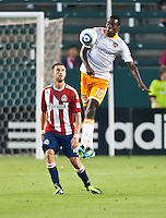 CARSON, CA – July 23, 2011: Chivas USA midfielder Blair Gavin (18) and Houston Dynamo midfielder Je-Vaughn Watson (10) during the match between Chivas USA and Houston Dynamo at the Home Depot Center in Carson, California. Final score Chivas USA 3, Houston Dynamo 0.