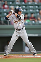 Shortstop Diego Castillo (7) of the Charleston RiverDogs bats in Game 2 of the South Atlantic League Southern Division Playoff against the Greenville Drive on Friday, September 8, 2017, at Fluor Field at the West End in Greenville, South Carolina. Charleston won, 2-1, and the series is tied at one game each. (Tom Priddy/Four Seam Images)