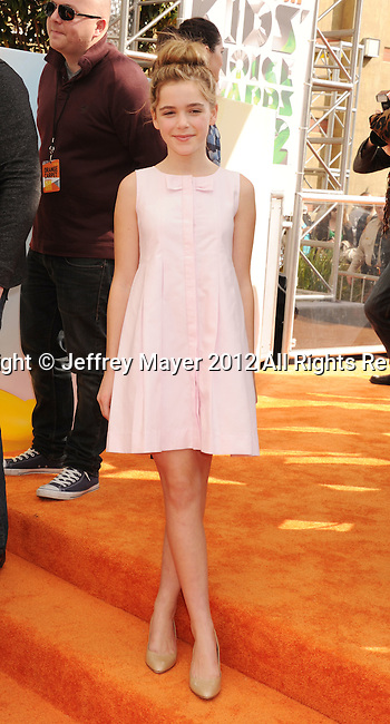 LOS ANGELES, CA - MARCH 31: Keirnan Shipka arrives at the 2012 Nickelodeon Kids' Choice Awards at Galen Center on March 31, 2012 in Los Angeles, California.