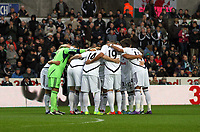 Pictured: Huddle. Saturday 31 December 2011<br /> Re: Premier League football Swansea City FC v Tottenham Hotspur at the Liberty Stadium, south Wales.