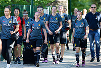20170717 - RIJEN , NETHERLANDS :  Belgian team pictured arriving at the training ground during a training session of the Belgian national women's soccer team Red Flames on the pitch of Rijen , on Tuesday 18 July 2017 in Rijen . The Red Flames are at the Women's European Championship 2017 in the Netherlands. PHOTO SPORTPIX.BE | DAVID CATRY