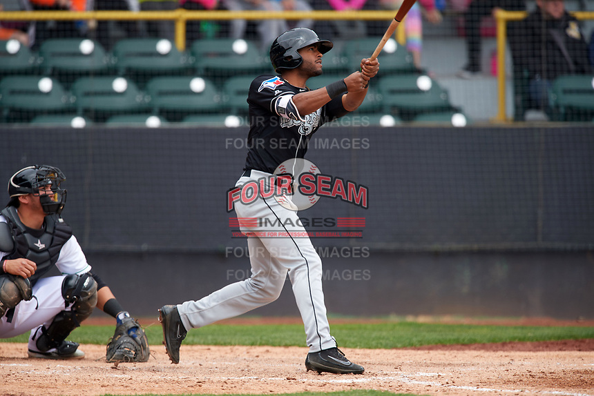 Lansing Lugnuts center fielder Joshua Palacios (2) at bat during a game against the Clinton LumberKings on May 9, 2017 at Ashford University Field in Clinton, Iowa.  Lansing defeated Clinton 11-6.  (Mike Janes/Four Seam Images)