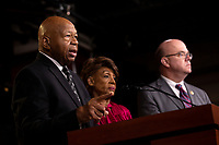 House Oversight and Government Reform Committee Chairman Elijah Cummings (Democrat of Maryland), Financial Services Committee Chairwoman Maxine Waters (Democrat of California), and Rules Committee Chairman Jim McGovern (Democrat of Massachussetts)   attend a press conference on Capitol Hill in Washington D.C., U.S. on June 11, 2019.  The press conference followed a House vote, where lawmakers passed a bill which allows the House Judiciary Committee to call on Federal judges to enforce Congressional subpoenas. Photo Credit: Stefani Reynolds/CNP/AdMedia