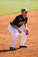 Charlotte 49ers third baseman Brad Elwood (2) on defense against the Canisius Golden Griffins at Hayes Stadium on February 23, 2014 in Charlotte, North Carolina.  The Golden Griffins defeated the 49ers 10-1.  (Brian Westerholt/Four Seam Images)