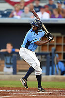 Charlotte Stone Crabs outfielder Andrew Toles (1) at bat during a game against the Bradenton Marauders on April 4, 2014 at Charlotte Sports Park in Port Charlotte, Florida.  Bradenton defeated Charlotte 9-1.  (Mike Janes/Four Seam Images)