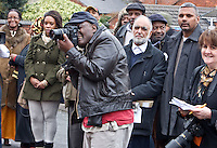 Respected veteran Jamaican photographer Vanley Burke, at the Malcom X, Marshall Street, Smethwick, Blue Plaque unveiling