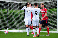 Kristoffer Peterson of Swansea City u23s' celebrates scoring the opening goal during the Premier League 2 Division Two match between Swansea City u23s and Middlesbrough u23s at Swansea City AFC Training Academy  in Swansea, Wales, UK. Monday 13 January 2020.