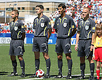 22 July 2007: Match officials (from left): Assistant Referee Juan Carlos Yuste Jimenez (ESP), Referee Alberto Undiano Mallenco (ESP), Fourth Official Ravshan Irmatov (UZB), and Assistant Referee Fermin Martinez (ESP). At the National Soccer Stadium, also known as BMO Field, in Toronto, Ontario, Canada. Argentina's Under-20 Men's National Team defeated the Czech Republic's Under-20 Men's National Team 2-1 in the championship match of the FIFA U-20 World Cup Canada 2007 tournament.