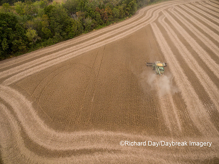 63801-09514 Soybean Harvest, John Deere combine harvesting soybeans - aerial - Marion Co. IL