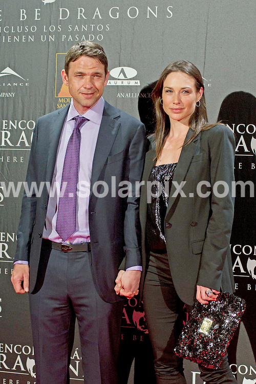 **ALL ROUND PICTURES FROM SOLARPIX.COM**                                             **WORLDWIDE SYNDICATION RIGHTS EXCEPT SPAIN - NO SYNDICATION IN SPAIN**                                                                                  Caption: attends There Be Dragons (Encontraras Dragones) premiere at Capitol cinema in Madrid, Spain. March 23, 2011                                                                    This pic:  Claire Forlani, Dougray Scott                                                                                      JOB REF: 13018 DMS       DATE: 23_03_2011                                                           **MUST CREDIT SOLARPIX.COM OR DOUBLE FEE WILL BE CHARGED**                                                                      **MUST AGREE FEE BEFORE ONLINE USAGE**                               **CALL US ON: +34 952 811 768 or LOW RATE FROM UK 0844 617 7637**
