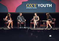 """From left, Marielle Pena Rosario '16, Jorge Torres '16, Karen Romero '16 and Soledad O'Brien.<br /> Broadcast journalist Soledad O'Brien visited Occidental College with """"I Am Latino in America,"""" a national tour of conversations aimed at amplifying the Latino voice on critical community issues.  October 15, 2015 in Thorne Hall.<br /> (Photo by Marc Campos, Occidental College Photographer)"""
