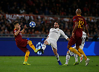 Stephan El Shaarawy of AS Roma and Karim Benzema of Real Madrid  during the Champions League Group  soccer match between AS Roma - Real Madrid  at the Stadio Olimpico in Rome Italy 27 November 2018