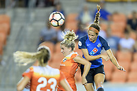 Houston, TX - Sunday August 13, 2017:  Shea Groom heads the ball into the goal over Camille Levin during a regular season National Women's Soccer League (NWSL) match between the Houston Dash and FC Kansas City at BBVA Compass Stadium.