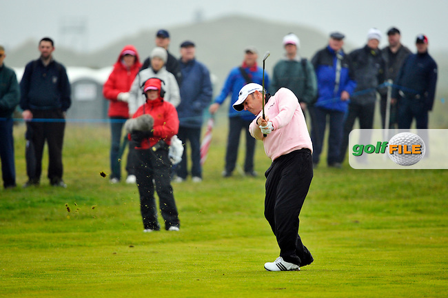 Paul McGinley plays his 2nd shot on the 9th his final hole during Round 2 of the 3 Irish Open on 15th May 2009 (Photo by Eoin Clarke/GOLFFILE)