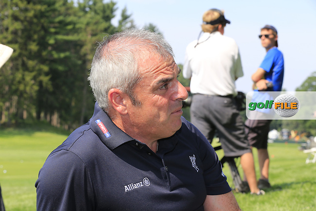 2014 Ryder Cup Captain Paul McGinley (IRL) chats to journalists on the practice range during Wednesday's Practice Day of the 95th US PGA Championship 2013 held at Oak Hills Country Club, Rochester, New York.<br /> 7th August 2013.<br /> Picture: Eoin Clarke www.golffile.ie