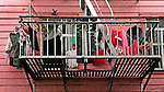 Underwear hangs of a fire escape to dry in Chinatown of San Francisco, CA...