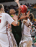 SIOUX FALLS, SD - MARCH 6:  Carlin Dupree #3 of North Dakota State gets tangled up by defenders Matt O'Leary #15 and Evan Hall #24 of IUPUI in the 2016 Summit League Tournament. (Photo by Dick Carlson/Inertia)