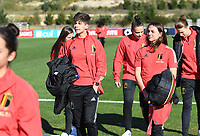 20200307  Parchal , Portugal : illustration picture showing the Belgian players with Isabelle Iliano  and Jody Vangheluwe on the pitch prior to thefemale football game between the national teams of Belgium called the Red Flames and Portugal on the second matchday of the Algarve Cup 2020 , a prestigious friendly womensoccer tournament in Portugal , on saturday 7 th March 2020 in Parchal , Portugal . PHOTO SPORTPIX.BE | DAVID CATRY