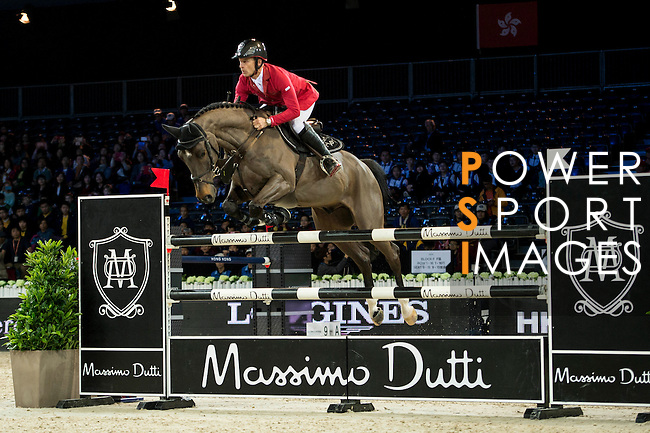 Pius Schwizer on Balou Rubin R competes during competition Table A Against the Clock at the Longines Masters of Hong Kong on 19 February 2016 at the Asia World Expo in Hong Kong, China. Photo by Li Man Yuen / Power Sport Images