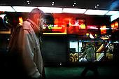 Warsaw 02.04.2008 Poland<br /> A homeless old man walking through Warsaw centre railway station. A lot of homeless people finding place to sleep at railway station<br /> (Photo by Adam Lach / Napo Images for Newsweek Polska)<br /> <br /> Dworzec kolejowy, Warszawa Centralna. Bezdomny starszy mezczyzna idze przez Dworzec Centralny w Warszawie. Wielu z bedzomnych ludzi znajduje miejsce do spania na dworcu<br /> (Fot Adam Lach / Napo Images dla Newsweek Polska)