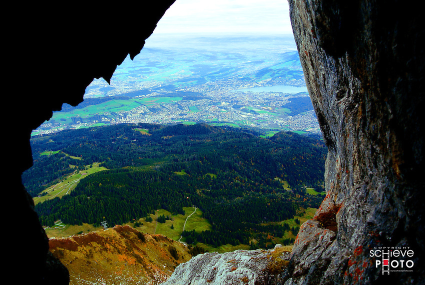 The view from the top of Mount Pilatus near Lucerne, Switzerland.