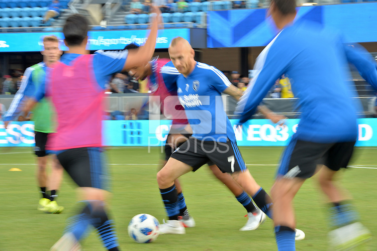 San Jose, CA - Wednesday August 29, 2018: Magnus Eriksson prior to a Major League Soccer (MLS) match between the San Jose Earthquakes and FC Dallas at Avaya Stadium.