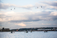 Kayaking under the Emirates Air Line Cable Car across the River Thames, Greenwich, London, England