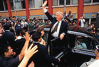 290697:  CHRIS PATTEN :  HONG KONG<br /> <br /> Hong Kong Govenor Chris Patten waves to crowds during his final visit in Hong Kong.<br /> <br /> Photo by Frederic Brown / SINOPIX