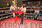 KICKBOXER: Barry Connolly, Ballyduff (right), pictured in his victory bout over Ger McGettigan of Shannon Kickboxing Club at the Tralee School of Martial Arts' Fight Night 3 held in the Abbey Gate Hotel, Tralee, on Saturday night.