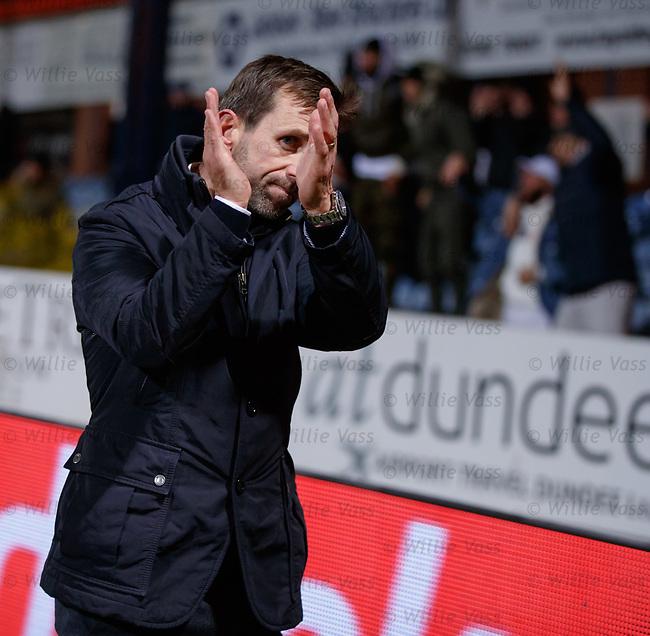 Neil McCann applauds the Rangers fans