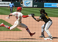 25th July 2020, St Louis, MO, USA;  St. Louis Cardinals center fielder Harrison Bader beats the throw to first during a Major League Baseball game between the Pittsburgh Pirates and the St. Louis Cardinals