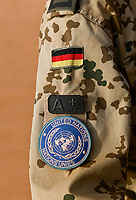 MALI, Gao, Minusma UN peace keeping mission, Camp Castor, german army Bundeswehr , camouflage uniform with german flag and UN sticker and blood group A + positive