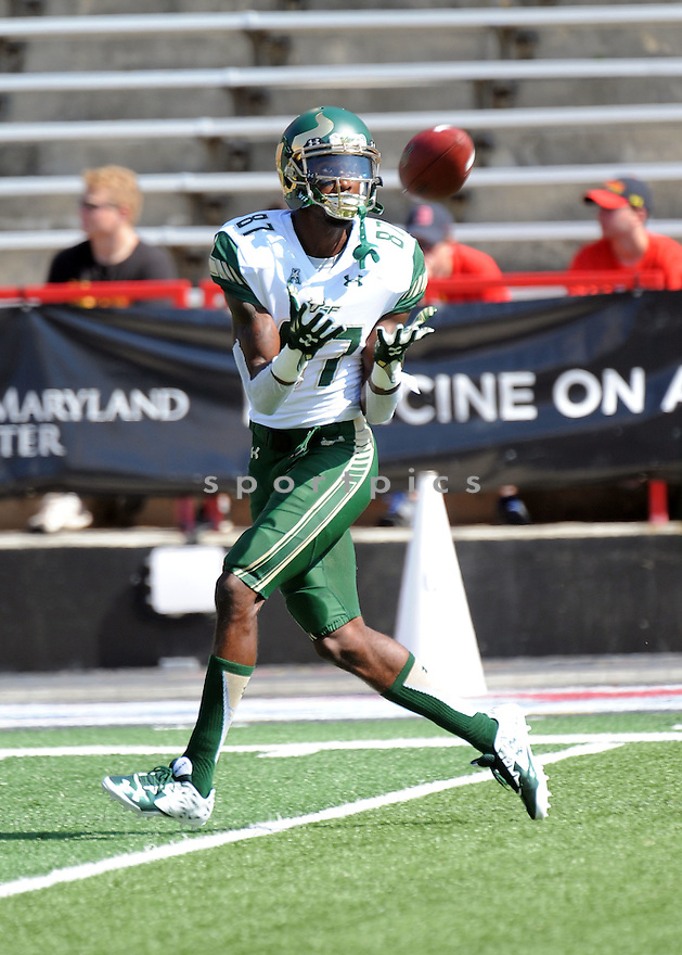 South Florida Bulls Rodney Adams (87) during a game against the Maryland Terrapins on September 19, 2015 at Byrd Stadium in College Park, MD. Maryland beat South Florida 35-17.