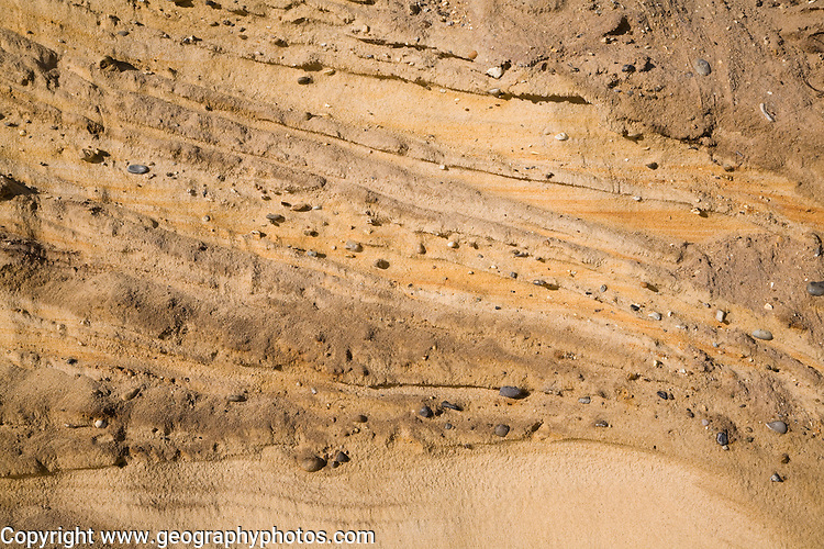 Pleistocene ice age outwash deposits in  sedimentary Red Crag rock strata of cliff face, Suffolk coast, Benacre, England