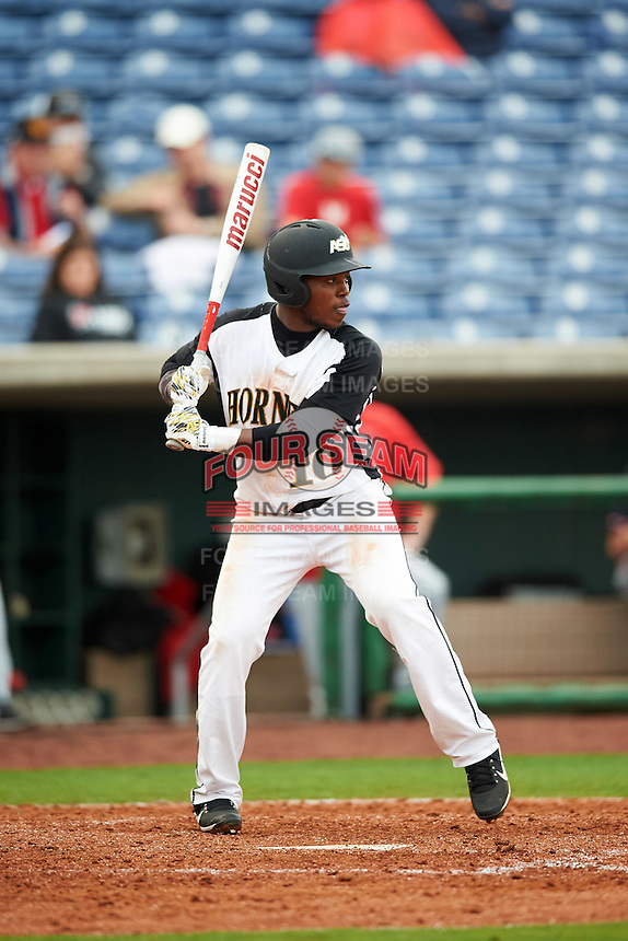 Alabama State Hornets Eriq White (10) at bat during a game against the Ball State Cardinals on February 18, 2017 at Spectrum Field in Clearwater, Florida.  Ball State defeated Alabama State 3-2.  (Mike Janes/Four Seam Images)