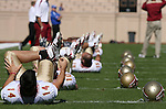 14 October 2006: Florida State's Christian Ponder (14) and teammates stretch during a pregame drill. The Florida State University Seminoles defeated the Duke University Blue Devils 51-24 at Wallace Wade Stadium in Durham, North Carolina in an Atlantic Coast Conference NCAA Division I College Football game.