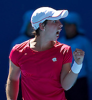 CARLA SUAREZ NAVARRO (ESP) against PETRA KVITOVA (CZE) in the second round of the Women's Singles. Petra Kvitova beat Carla Suarez Navarro 6-2 2-6 6-4..19/01/2012, 19th January 2012, 19.01.2012..The Australian Open, Melbourne Park, Melbourne,Victoria, Australia.@AMN IMAGES, Frey, Advantage Media Network, 30, Cleveland Street, London, W1T 4JD .Tel - +44 208 947 0100..email - mfrey@advantagemedianet.com..www.amnimages.photoshelter.com.