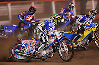 Heat 8: Magnus Zetterstrom (green), Daniel Davidsson (yellow), Leigh Lanham (red) and Andreas Jonsson (b&w) - Lakeside Hammers vs Poole Pirates, Elite League Grand Final 1st leg at The Arena Essex Raceway, Lakeside - 08/08/08 - MANDATORY CREDIT: Rob Newell/TGSPHOTO