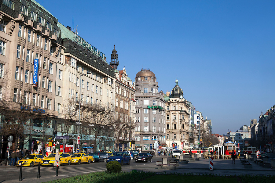 Wenceslas Square, (Czech: Vaclavske Namesti) one of Prague's main and historic squares, in New Town, Prague, Czech Republic, Europe