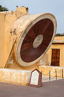 Jaipur, Rajasthan, India.  Jantar Mantar, an 18th-century Site for Astronomical Observations, now a World Heritage Site.  This is the Narivalaya Yantra, an Equatorial Sundial.