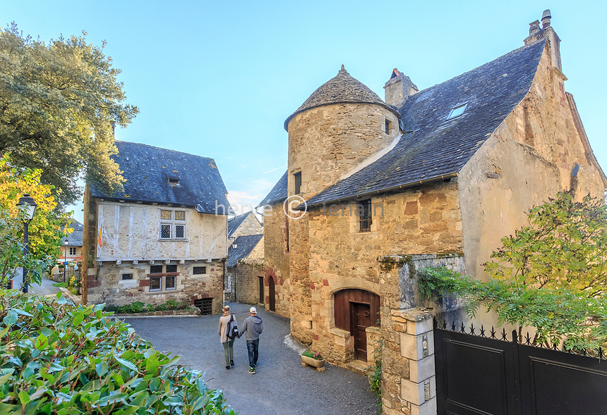 France, Correze, Turenne, labelled Les Plus Beaux Villages de France (The Most Beautiful Villages of France), houses in the village // France, Corrèze (19), Turenne, labellisé Les Plus Beaux Villages de France,  maisons dans le village