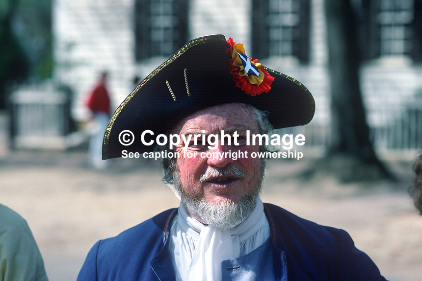 """The well-worn face of a """"sea captain"""" at the Colonial Williamsburg Historic Area, the restored capital of 18th century Virginia, 19880505CW11..Copyright Image from Victor Patterson, 54 Dorchester Park, Belfast, UK, BT9 6RJ..Tel: +44 28 9066 1296.Mob: +44 7802 353836.Voicemail +44 20 8816 7153.Skype: victorpattersonbelfast.Email: victorpatterson@me.com.Email: victorpatterson@ireland.com (back-up)..IMPORTANT: If you wish to use this image or any other of my images please go to www.victorpatterson.com and click on the Terms & Conditions. Then contact me by email or phone with the reference number(s) of the image(s) concerned."""