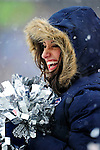 3 January 2010: A Buffalo Bills cheerleader, a Buffalo Jill, stands on the sidelines during a game against the Indianapolis Colts on a cold, snowy, final game of the season at Ralph Wilson Stadium in Orchard Park, New York. The Bills defeated the Colts 30-7. Mandatory Credit: Ed Wolfstein Photo
