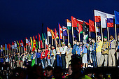 All the flags representing the participant coutries were placed by the stage. Photo: Kim Rask/Scouterna