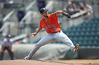 Buies Creek Astros starting pitcher Carson LaRue (17) in action against the Winston-Salem Dash at BB&T Ballpark on July 15, 2018 in Winston-Salem, North Carolina. The Dash defeated the Astros 6-4. (Brian Westerholt/Four Seam Images)